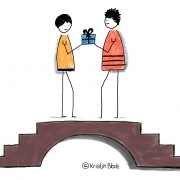 Wissenstransfer: Zwei Figuren auf der Brücke halten das Wissen